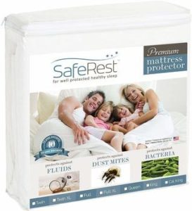 #1. SafeRest Queen Size Hypoallergenic Waterproof Premium Mattress Protector - Vinyl Free