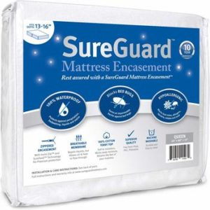 #3. Queen (13-16 in. Deep) 100% Waterproof, SureGuard Mattress Encasement -Hypoallergenic Bed Bug Proof