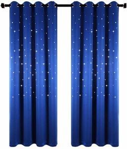7. Anjee Starry Sky Blackout Curtains with Laser Cutting Stars