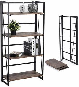 7. Coavas No-Assembly Folding- 4 Tiers Bookcase