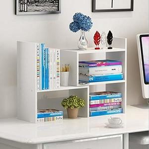 8. Hossejoy Wood Adjustable Desktop Storage Organizer