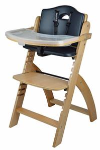 1. Abiie Beyond Wooden High Chair (Natural Wood - Black Cushion)