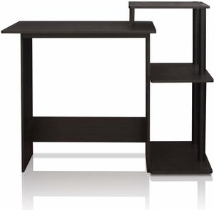 #1. FURINNO Efficient Computer Desk with Square Side Shelves
