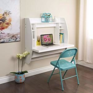 #2. Prepac White Floating Desk with Storage