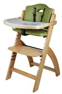3. Abiie Beyond Wooden High Chair (Natural Wood - Olive Cushion)