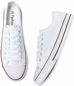 #3. Adokoo Womens Casual Canvas Shoes Cute Low Cut Sneakers Lace up Comfortable
