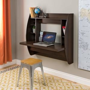 #3. Prepac Wall Mounted Espresso Floating Desk with Storage