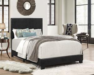 6. Crown Mark Upholstered Panel Bed in Black