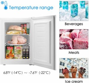 #7. Bossin Energy Star Compact 2.1 Cu.Ft Mini Upright Standing Freezers …