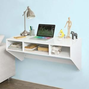 #8. Haotian White Wall-Mounted Home Office Floating Table Desk