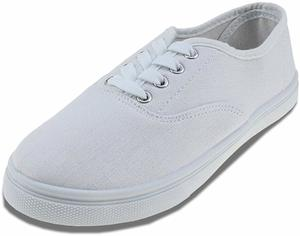 #8. Maxu White Lace Up Canvas Sneakers Unisex Shoes