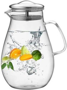 10. Hiware 64 Ounces Glass Pitcher with Stainless Steel Lid