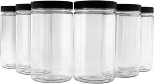 6. 32oz Clear Plastic Jars with Black Ribbed Lids (6 pack)