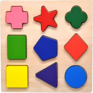 #2 GYBBER&MUMU Wooden Preschool Colorful Shape Puzzle