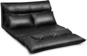 #3 Giantex Floor Sofa PU Leather Leisure Bed Video Gaming Sofa with Two Pillows