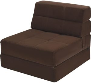 #4 Giantex Fold Down Sofa Bed Floor Couch Foam Folding Modern Futon Chaise Lounge Convertible Upholstered Memory Foam Padded Cushion Guest Sleeper Chair (Brown)