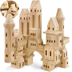 #5 FAO Schwarz Medieval Knights & Princesses Wooden Castle Building Blocks