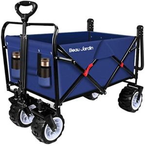 6. BEAU JARDIN Folding Push Wagon Cart