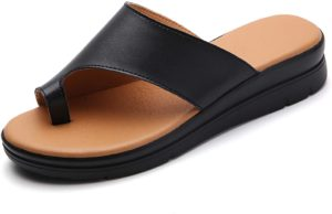 #7 Bunion Sandals for Women Comfy - Shoes BSP-2 Genuine Leather Women Flip-Flop Light Weight Shoes Wedge Sandals Black Gold Brown White