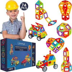 #7 Limmys Magnetic Building Blocks – Unique Travel Series Construction Toys for Boys and Girls – STEM Educational Toy – Includes 74 Pieces and an Idea Book