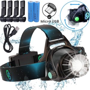 #7 Rechargeable Headlamp, Hard Hat Light