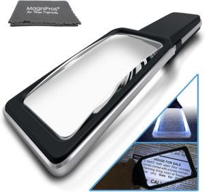 7. MagniPros Magnifying Glass with 10 Anti Glare & Dimmable LED Lights