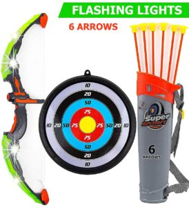 #7. Toysery Archery Set Bow and Arrow with LED Flash Lights