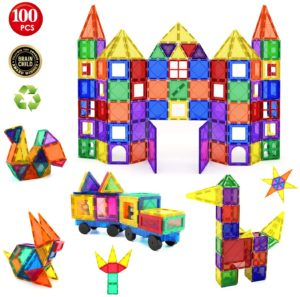 #8 Children Hub 100pcs Magnetic Tiles Set - Educational 3D Magnet Building Blocks - Building Construction Toys for Kids - Upgraded Version with Strong Magnets - Creativity