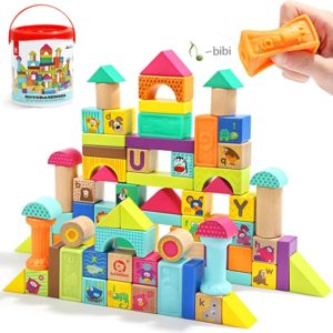 #8 TOP BRIGHT Wooden Building Blocks Set for Toddlers