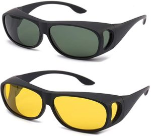 8. HD Night Day Vision Driving Wrap Around Sunglasses