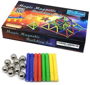 #9 CMS MAGNETICS 156 Piece Magnetic Building Set with 96 Magnet Sticks and 60 Steel Balls - Brain Toys