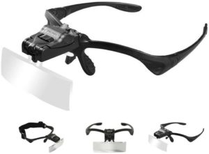 9. Beileshi Headband Magnifier Glasses With 2 LED