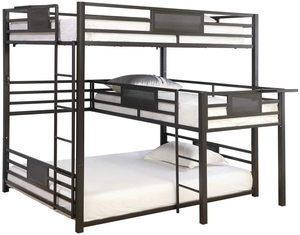 #4 Benjara Metal Twin-Over Queen Triple Bunk Bed