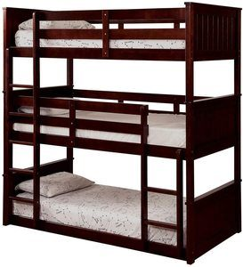 #6 Benjara 3 Tier Wooden Bunk Bed