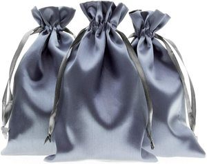 7. Knitial x 4 Silver Satin Gift Bags