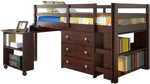 #3 DONCO Kids Low Study Loft Bed, Dark Cappuccino