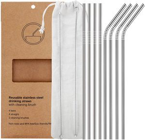 #1 YIHONG Set of 8 Reusable Stainless Steel Metal Straws