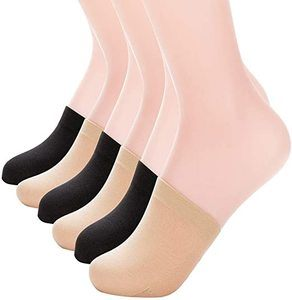1. MANZI Women's Non-Skid Toe Topper No Show Liner Socks, 6 Pairs