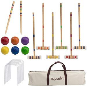 1. ROPODA Six-Player Croquet Set with Wooden Mallets