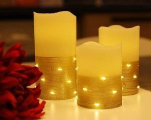 #10 Flickering LED Candle Set with Daily Embedded String Lights