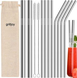 #10 grilljoy 13pc Straws for Drinks with 2 Cleaning Brushes