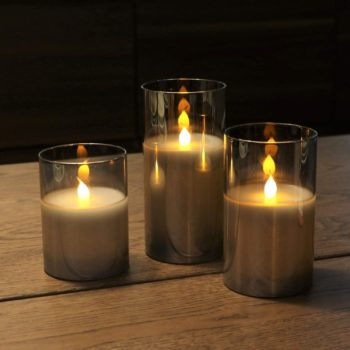 #3 Gold Glass Battery Operated Flameless Led Candles