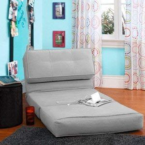 #3Flip Chair Convertible Sleeper Dorm Bed Couch Lounger Sofa in Silver