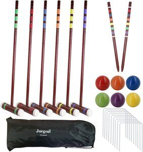 4. Juegoal Six Player Deluxe Croquet Set with Wooden Mallets