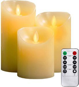 #6 YIWER Flameless Candles, Set of 3 Real Wax