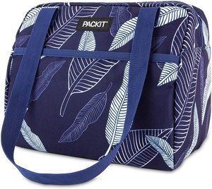 7. PackIt Freezable Hampton Lunch Bag, Navy Leaves