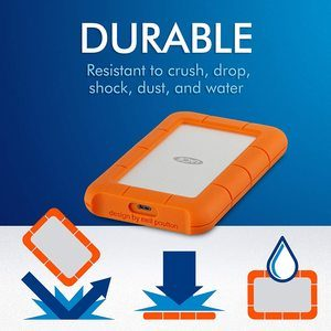 2. LaCie Rugged USB-C 1TB External Hard Drive