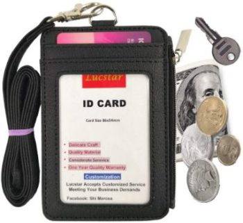 2. Lucstar ID Badge Holder with Portable Wallet