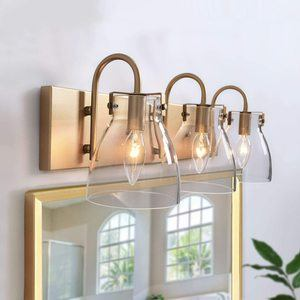 4. KSANA Gold Vanity Light Fixture for Bathroom with Clear Glass Shade
