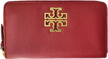 5. Tory Burch Wallet Leather Redstone Rolled Gold